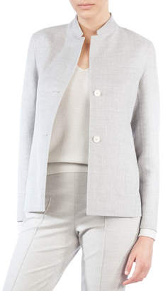 Akris Mock-Neck Single-Breasted Reversible Wool-Silk Jacket