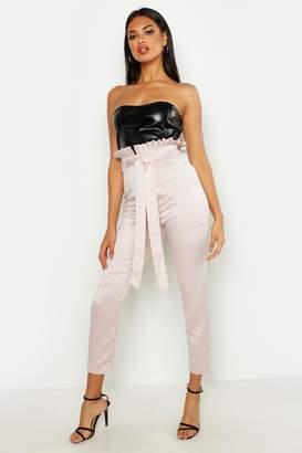 boohoo Paperbag Waist Satin Slimline Trousers