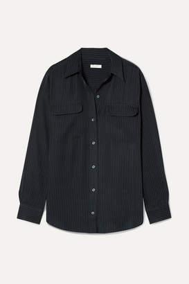 Equipment Signature Satin-jacquard Shirt - Midnight blue