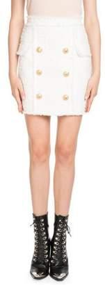 Balmain Six-Button Tweed Fitted Skirt