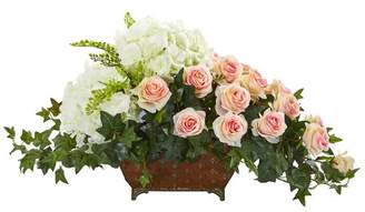 Co Darby Home Artificial Hydrangea and Rose Centerpiece in Metal Planter