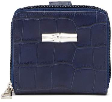 LONGCHAMP Roseau Small Croc Embossed Leather Wallet