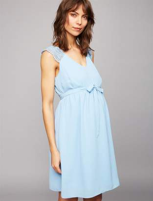 A Pea in the Pod Lace Shoulder Maternity Dress- Blue