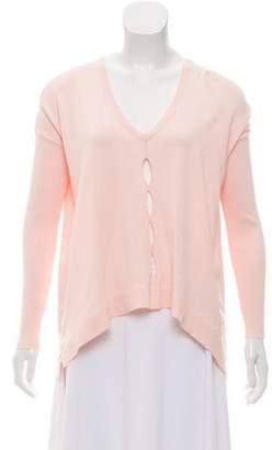 Aqua Oversize Cutout-Accented Sweater