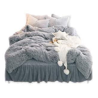 LIFEREVO Luxury Plush Shaggy Duvet Cover Set (1 Faux Fur Duvet Cover + 2 Pompoms Fringe Pillow Shams) Solid