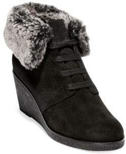 Cole Haan Grand OS Coralie Faux Fur Trimmed Wedge Booties