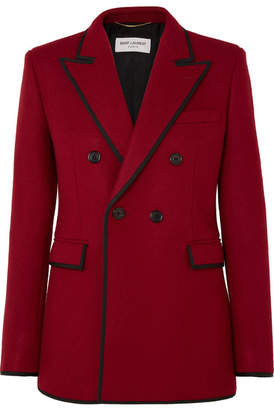 Saint Laurent Double-breasted Grosgrain-trimmed Wool Blazer - Red