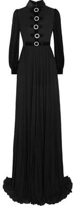 Embellished Velvet-trimmed Jersey Gown - Black