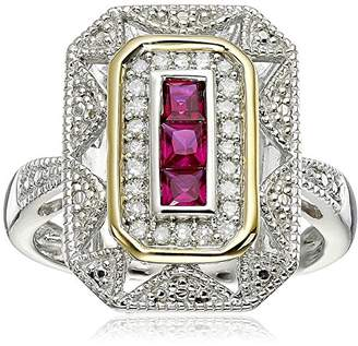 Sterling Silver and 14k Yellow Gold Created Ruby and Diamond Art Deco - Style Ring