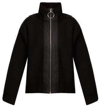 Paco Rabanne Ribbed Knit Wool Jacket - Womens - Black