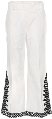 Tory Burch Embroidered cotton trousers