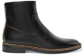 Lanvin Chain-Trimmed Leather Ankle Boots