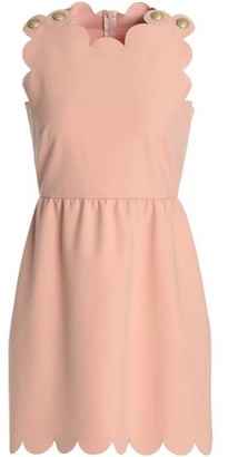 RED Valentino Scalloped Button-Embellished Stretch-Crepe Mini Dress