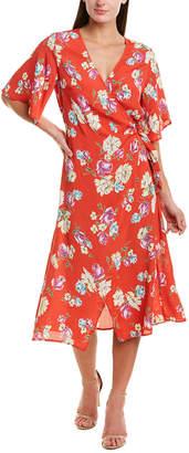 Lavender Brown Floral Wrap Dress