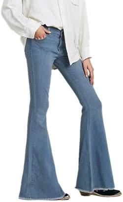 Cresay Women's Hippie Wide Leg Flared Bell Bottom Jeans-LightBlue-XL