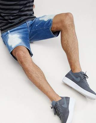Armani Exchange Distressed Denim Shorts In Blue