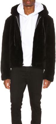 Keiser Clark Faux Fur Long Hair Wool Hoodie in Black   FWRD