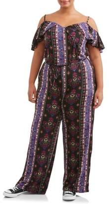 Eye Candy Juniors' Plus Cold Shoulder Surplice Printed Knit Jumpsuit
