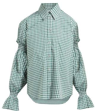 Burberry Puff Sleeve Oversized Gingham Cotton Shirt - Womens - Green White