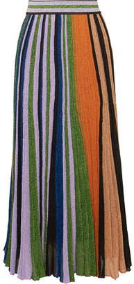 Missoni Pleated Metallic Stretch-knit Maxi Skirt - Lilac