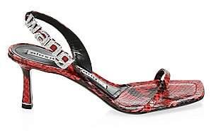 Alexander Wang Women's Ivy Snake Print Embossed Leather Slingback Sandals