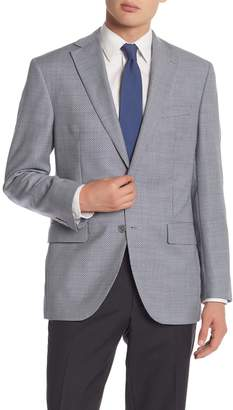 David Donahue Navy/White Houndstooth Two Button Notch Lapel Classic Fit Sportcoat