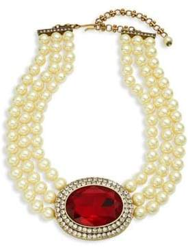Heidi Daus Faux Pearl Oval Center Necklace
