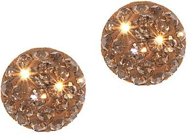 JCPenney Brown Crystal Ball Stud Earrings