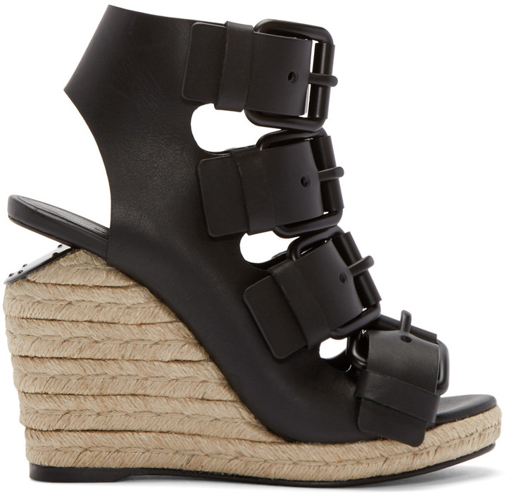 Alexander Wang Black Leather Jo Sandals