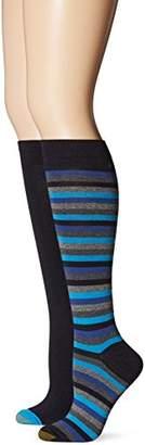 Gold Toe Women's Stripe Extended Size Knee High Sock (Pack of 2)