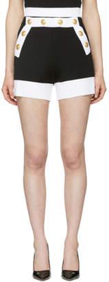 Balmain Black Bicolor Button Shorts