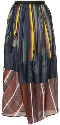 Kolor striped wrap maxi skirt