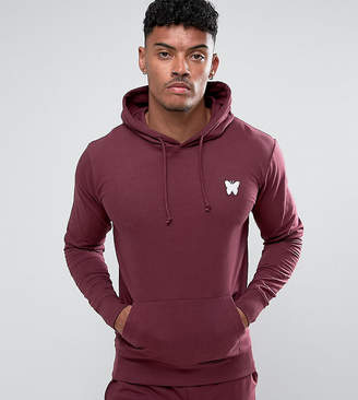 Asos Good For Nothing hoodie in burgundy with chest logo exclusive to