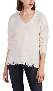 ATM Anthony Thomas Melillo Women's Distressed V-Neck Sweater - Neutral