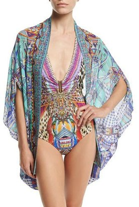 Camilla Open-Front Embellished Silk Cardigan/Cape Coverup, Divinity Dance $430 thestylecure.com