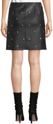 philosophy Star Studded Faux-Leather Mini Skirt