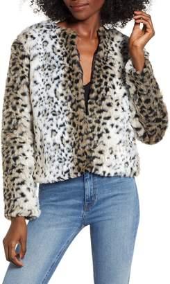 BB Dakota Wild Thing Snow Leopard Print Faux Fur Jacket