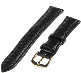 Republic Women's Lizard Grain Leather Watch Strap 10mm Regular Length, Black