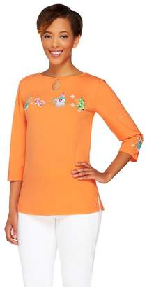 Factory Quacker Embroidered 3/4 Sleeve Keyhole T-shirt with Charm