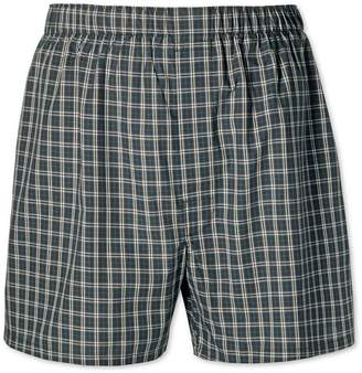Charles Tyrwhitt Green Check Woven Boxers Size Large