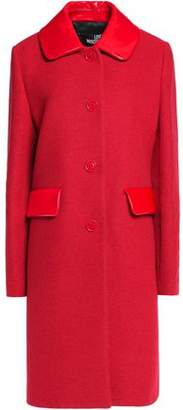 Love Moschino Faux Leather-Trimmed Felt Coat