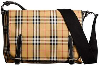 Burberry Large Leather Trim Vintage Check Messenger Bag