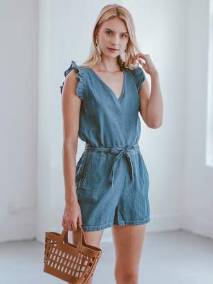 Goodnight Macaroon 'Danyell' Chambray Belted Frill Romper