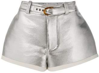 Marni flared lamb leather shorts