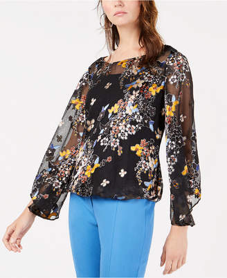 Alfani Burnout Mesh Jacquard Bubble Top