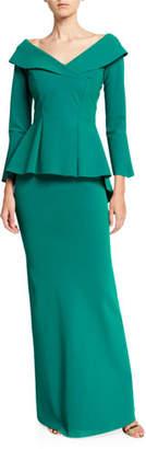 Chiara Boni V-Neck Bracelet-Sleeve Peplum Gown