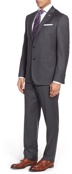 Men's Ted Baker London 'Jay' Trim Fit Solid Wool Suit 5