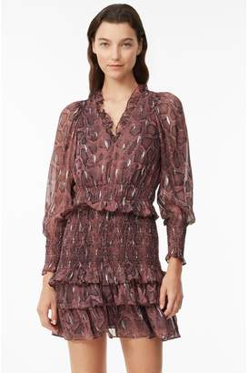 Rebecca Taylor Snake Print Smocked Clip Dress