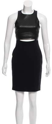 Cushnie et Ochs Leather Bodice Midi Dress