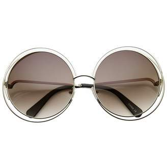 be9dc94ac4 Zerouv Women s Oversized Full Metal Wire Frame Glamour Round Sunglasses